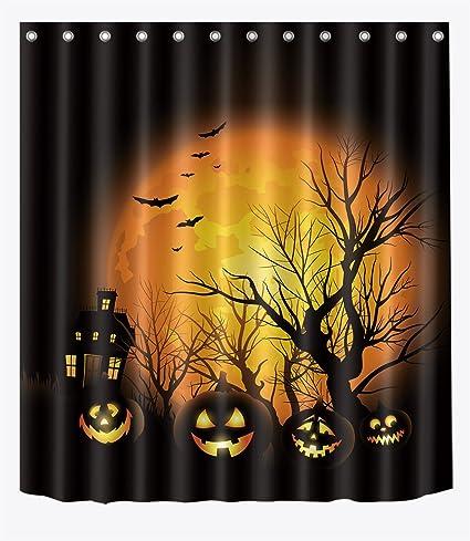 LB Black Orange Halloween Decor Haunted Mansion Shower Curtain Set Bathroom Spooky Cartoon Kids
