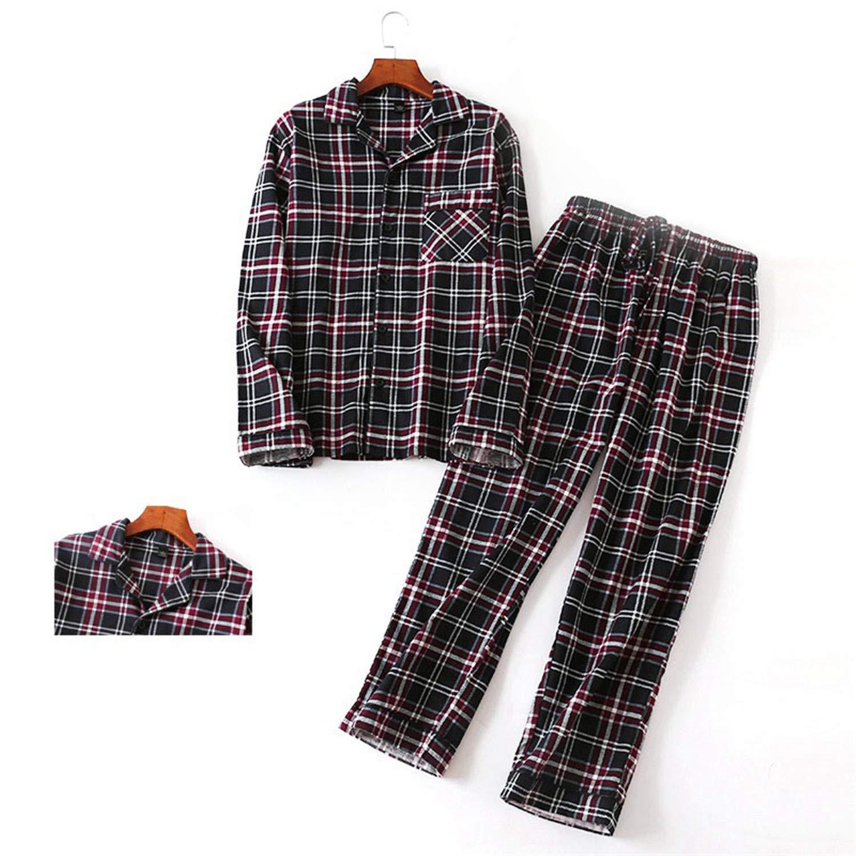 Cotton Mens Autumn/&Winter Long-Sleeved Trousers Pajama Suits Plaid Sleepwear Men Pajama Set Mansleepwear Flannel Pyjama