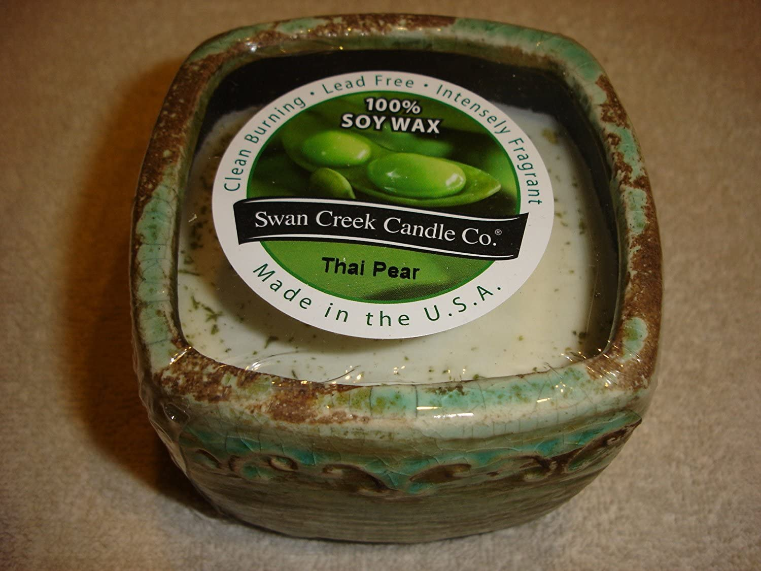 """Swan Creek 9 Oz. 100% Soy Wax 45+ Hour Candle in Square Pottery """"Thai Pear"""""""