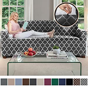 Gorilla Grip Original Velvet Fitted 1 Piece Sofa Slipcover, Stretch Up to 70 Inches, Soft Velvety Luxury Couch Slip Cover, Spandex Sofas Furniture Protector, with Fasteners, Quatrefoil Gray White
