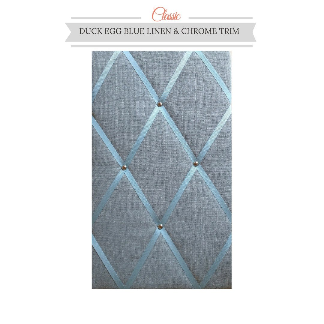 Classic Size Duck Egg Blue Linen Memo Board with Chrome Studwork by Notice Board Store