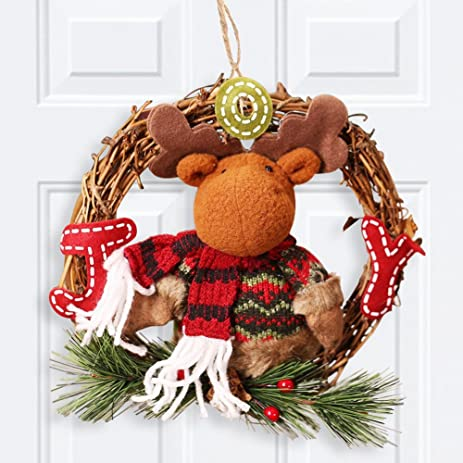 christmas reindeer door hanger decorations holiday home cute rustic christmas wreath ornaments 8x14inch