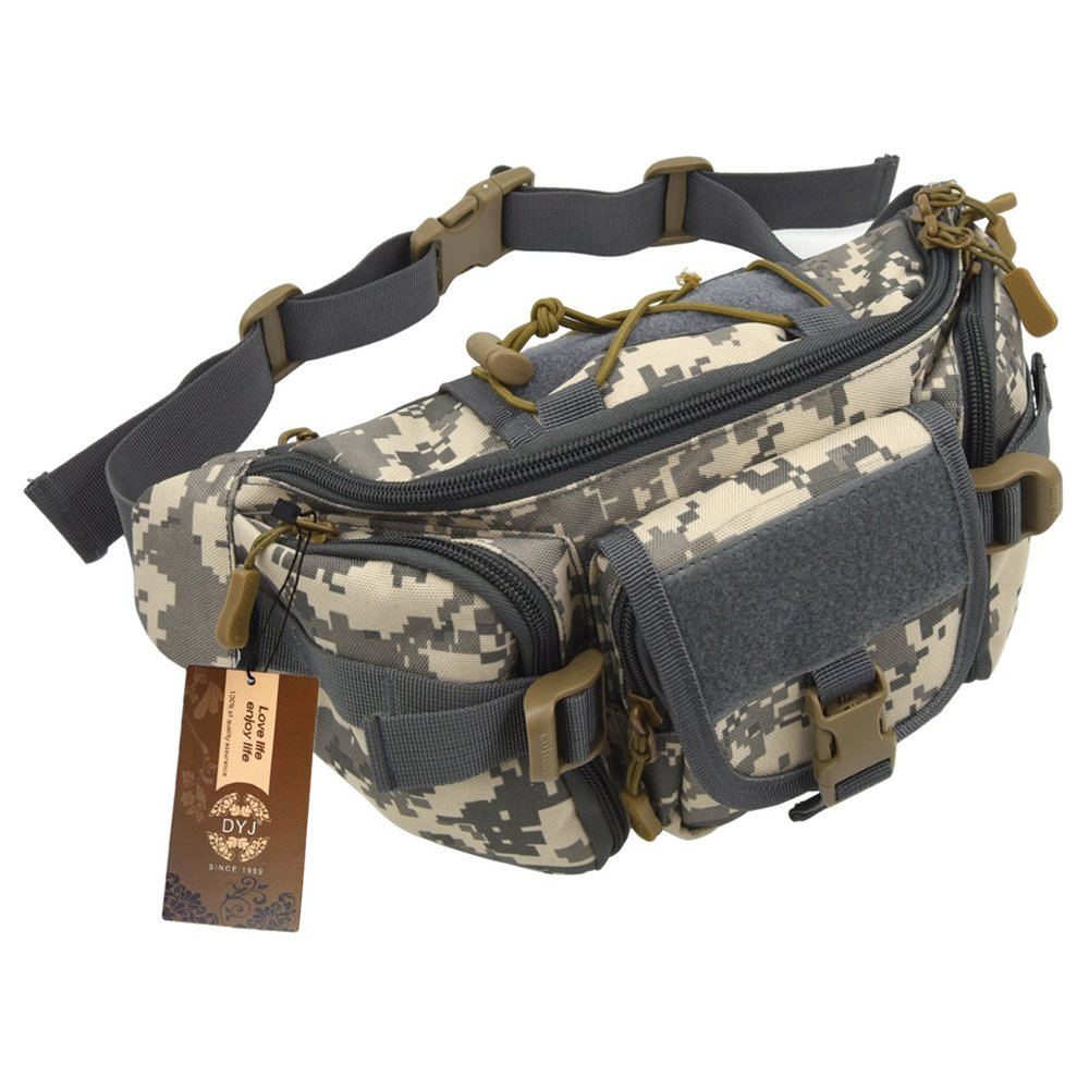 DYJ Utility Multipurpose Molle Tactical Waist Bag Hip Pack Military Fanny Pack Compact Waterproof Hip Belt Bag Pouch Hiking Climbing Outdoor Bumbag (ACU Camouflage)