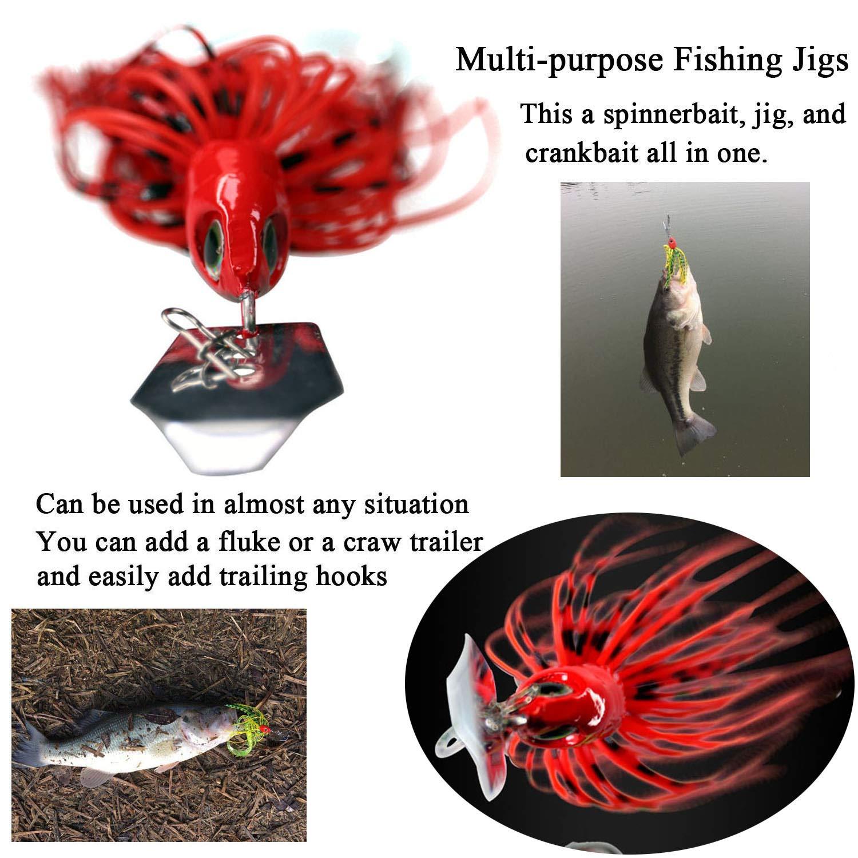 Thkfish Lot de 5 leurres de p/êche en Eau sal/ée avec app/âts deau Douce et buzzbait Spinnerbait