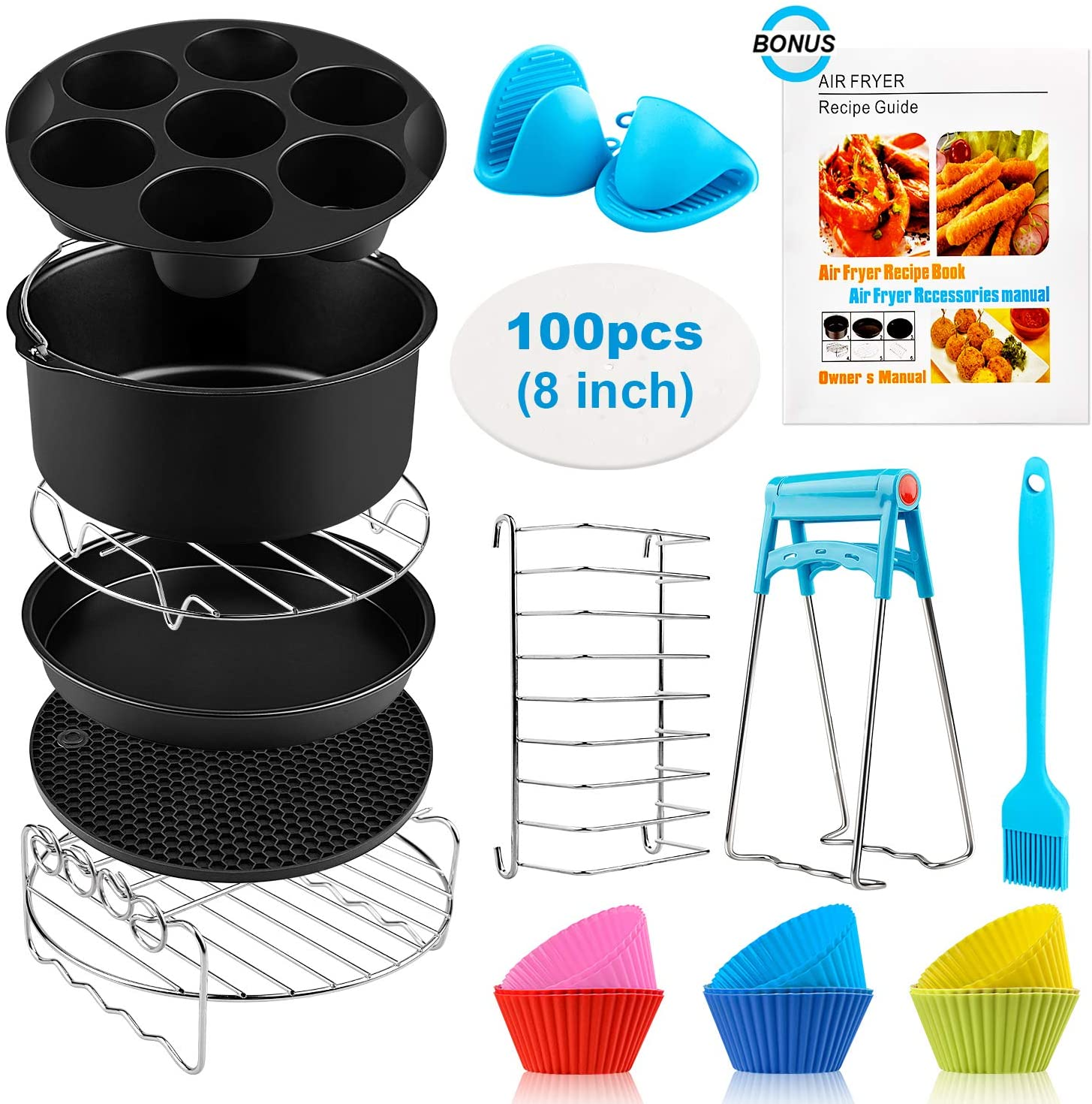 Air Fryer Accessories XL, 8 Inch Set Of 17 For Gowise USA Phillips Ninjia Cosori Cozyna 4.2QT 5.3QT 5.5QT 5.8QT Deep Air Fryer with Recipes Cookbook and 12 Silicone Muffin Cups Universal Accessories