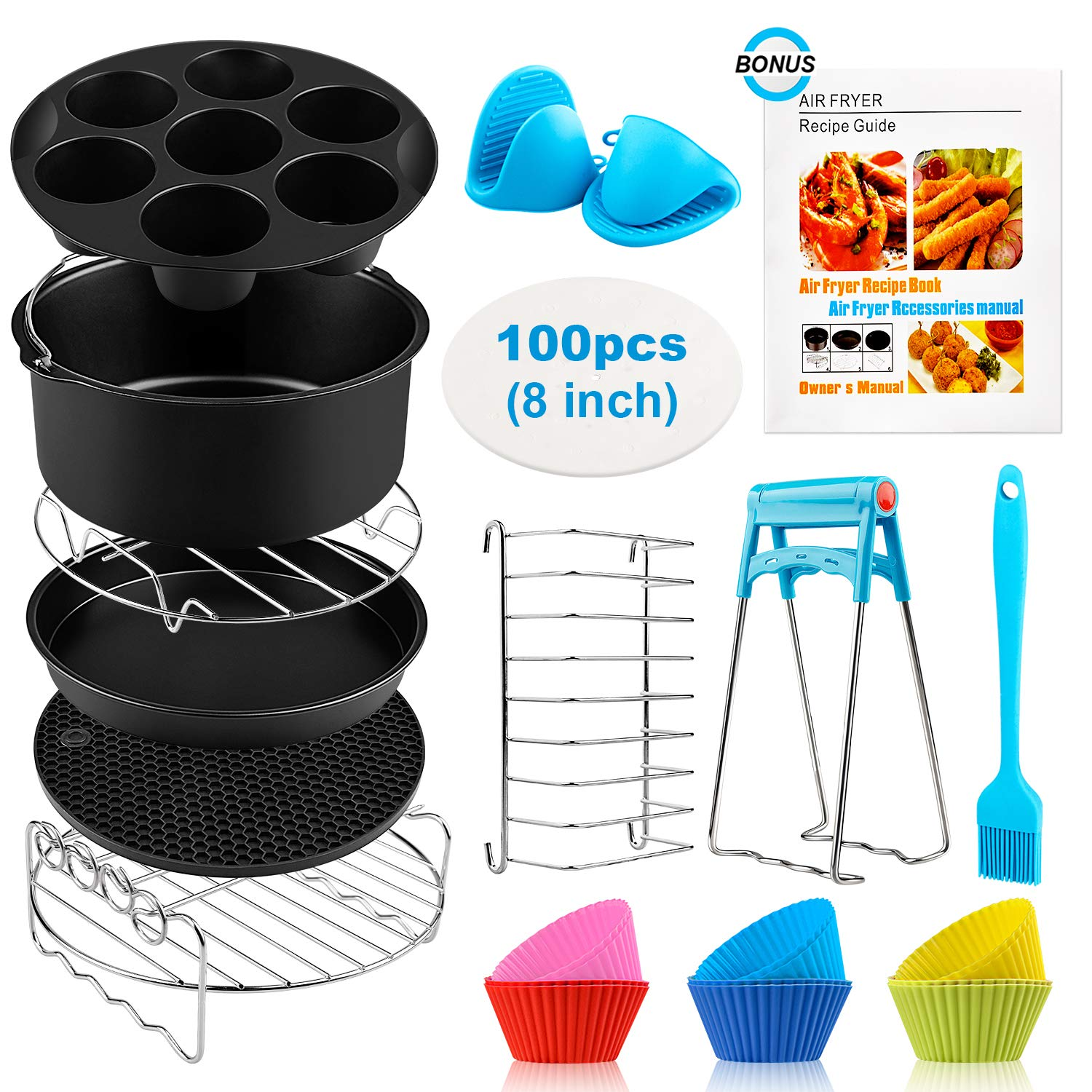 Air Fryer Accessories XL, 8 Inch Set Of 17 For Gowise USA Phillips Ninjia Cosori Cozyna 4.2QT 5.3QT 5.8QT Deep Air Fryer With 3 Magnetic Cheat Sheets And Recipes Cookbook Universal Accessories
