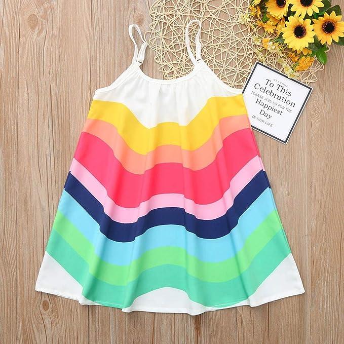 Fartido Toddler Girl Lace Halter Tops Blouse with Rainbow Short Bottom Skirt Set