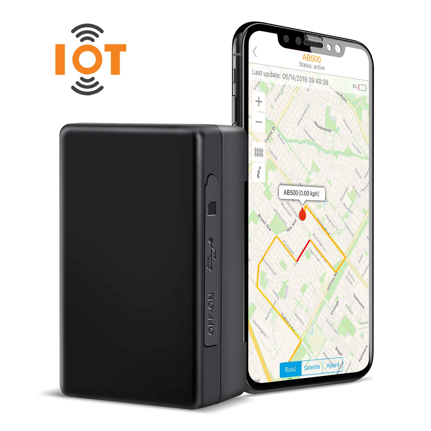 ABLEGRID GPS Tracker loT-NB CaT-M 4G 7800mAh Real-time GPS Tracking Device Small Hidden GPS Locator for Vehicle, Car, Personal, Valuable - with Global Data Card Support Mufti-Carrier Network by ABLEGRID