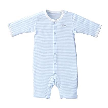 31c17aa77821c 赤ちゃんの城 ボディオール 長袖・長足タイプ ボーダー 70 サックス 日本製 ベビー 新生児