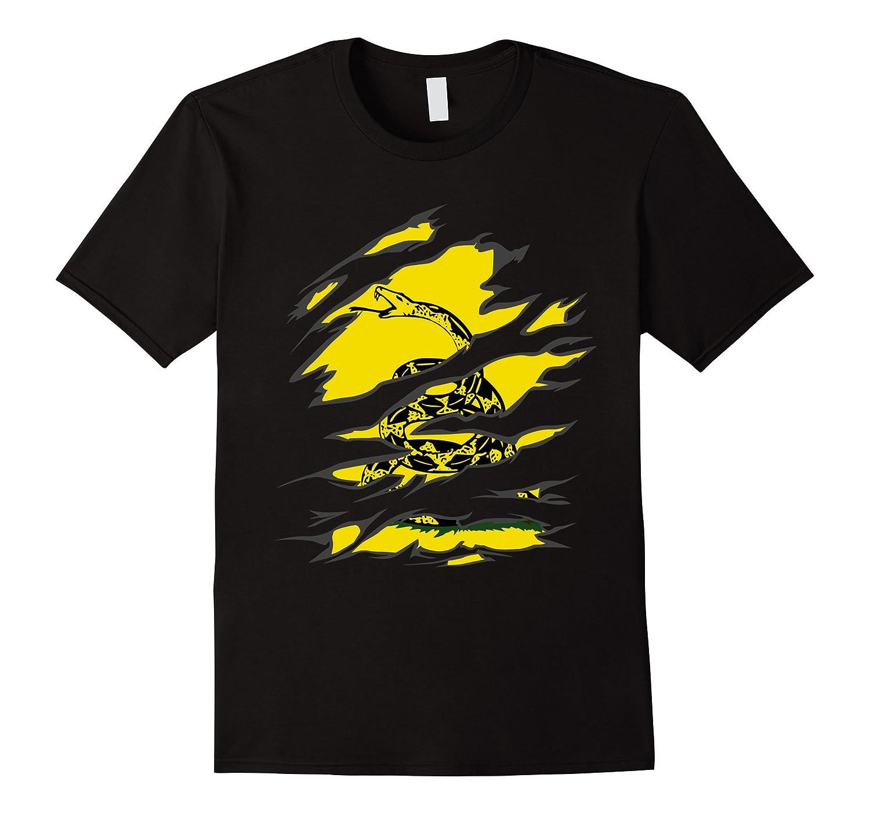 Gadsden Snake Flag Under Ripped Look T-Shirt-RT