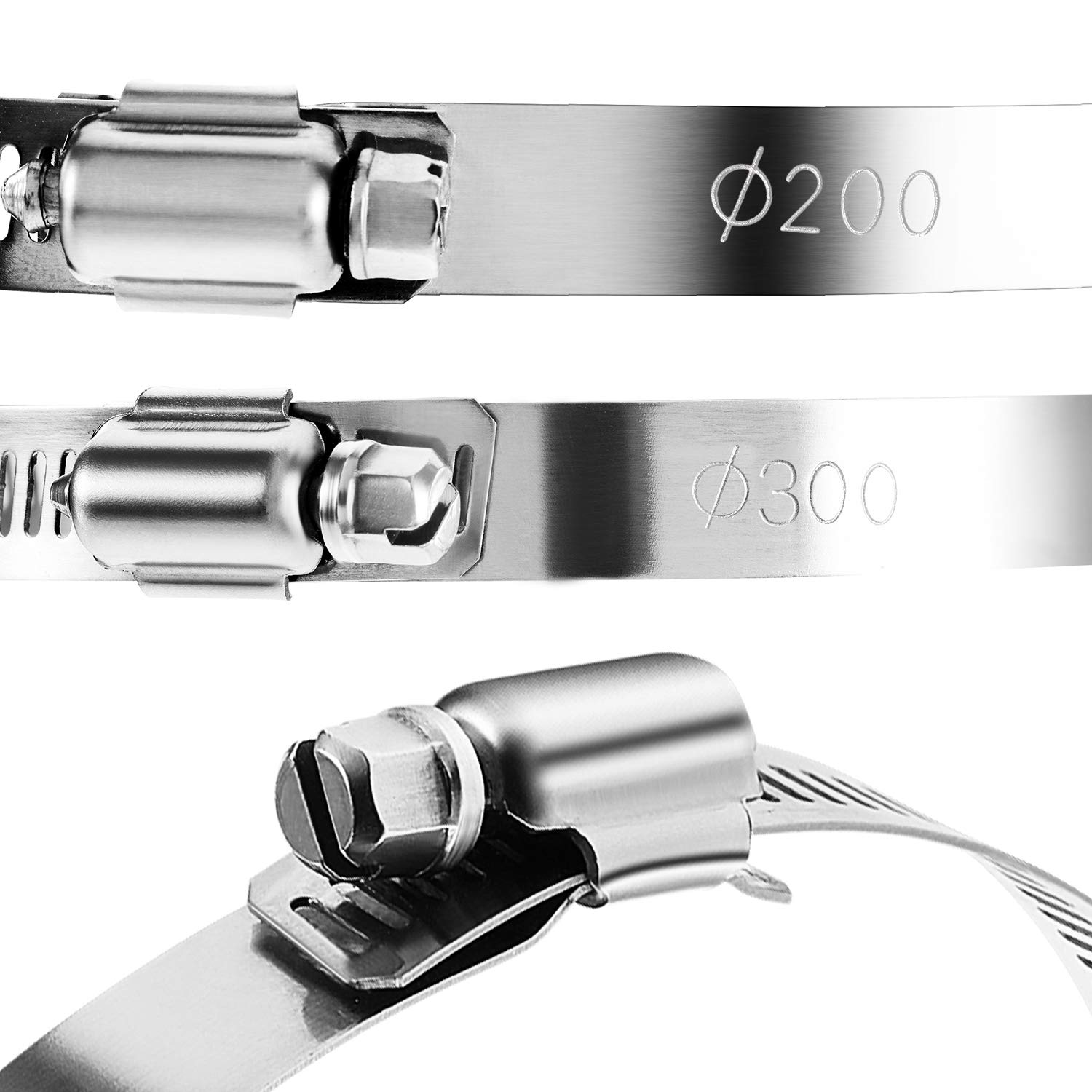 Boao 4 Pieces Adjustable 304 Stainless Steel Duct Clamps Hose Clamp (8 and 12 Inch) by Boao (Image #4)