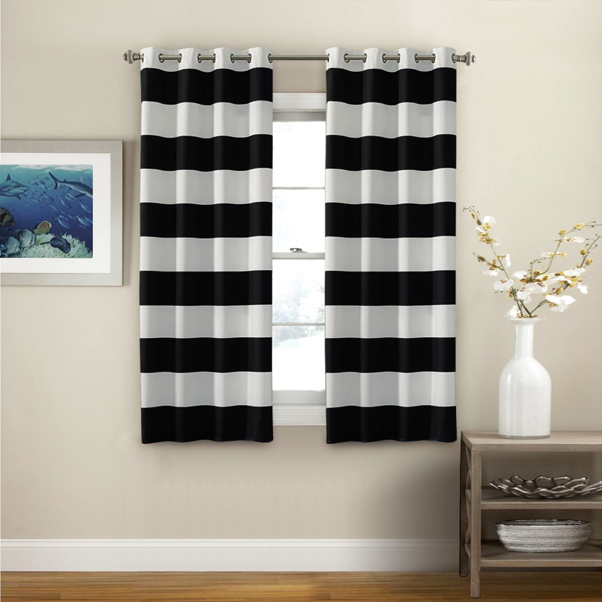 Turquoize Nautical Blackout Curtains(2 PANELS), Room Darkening, Grommet Top, Light Blocking Curtains