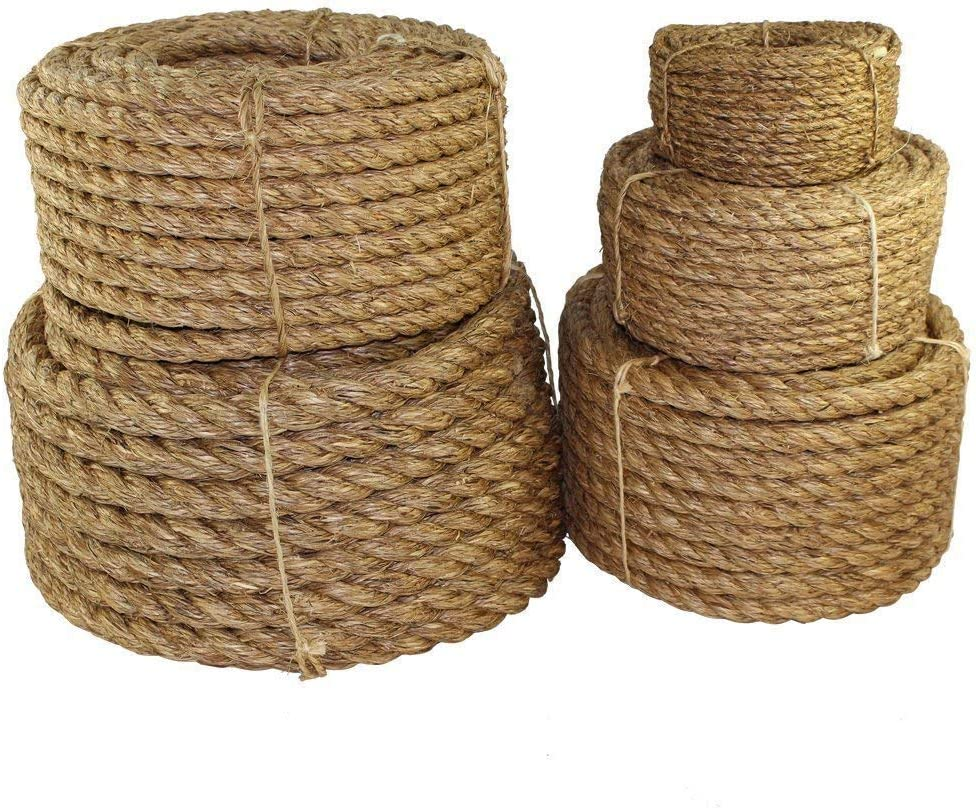 SGT KNOTS Twisted Manila Rope - Natural 3 Strand Fiber for Indoor and Outdoor Use (3/8