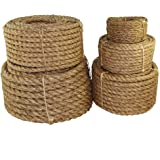 """SGT KNOTS Twisted Manila Rope - Natural 3 Strand Fiber for Indoor and Outdoor Use (1/4"""" x 10ft)"""