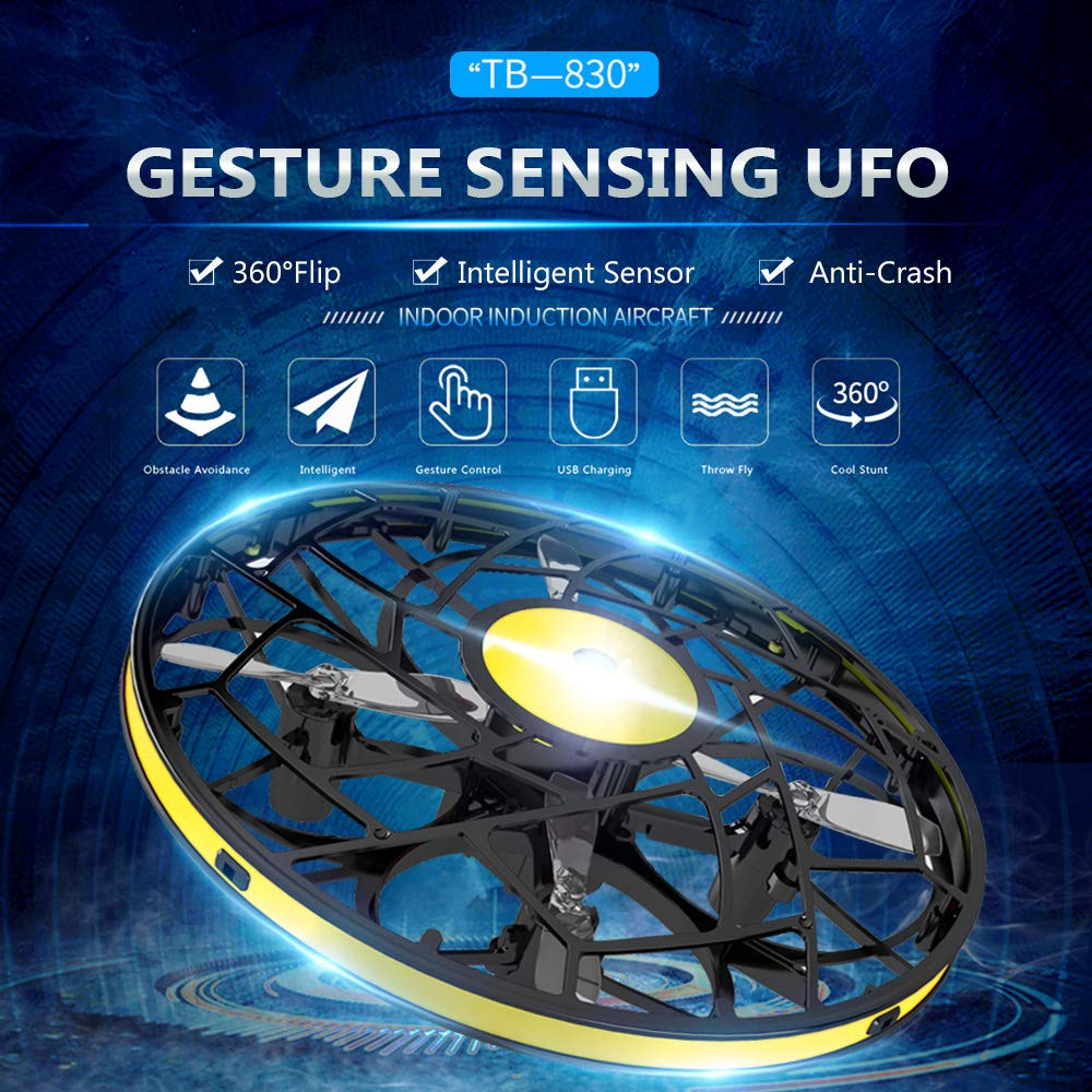 Leslaur AIXIYI TB-830 Mini Drone Gesture Sensing UFO Indoor Infrared Hovering Interactive Obstacle Avoidance Aircraft Toy by Leslaur