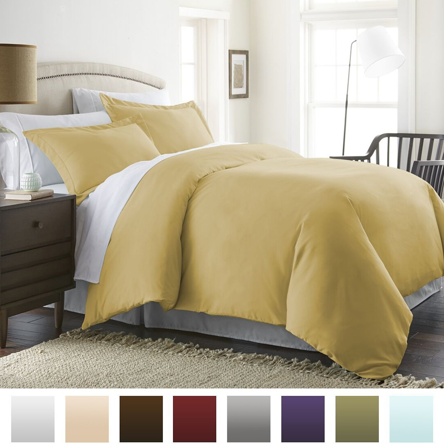 Beckham Hotel Collection Luxury Soft Brushed 1800 Series Microfiber Duvet Cover Set - Hypoallergenic - King/Cal King, Gold