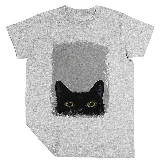 Negro Gato Niño Niña Unisexo Gris Camiseta Manga Corta Kids Grey T ...