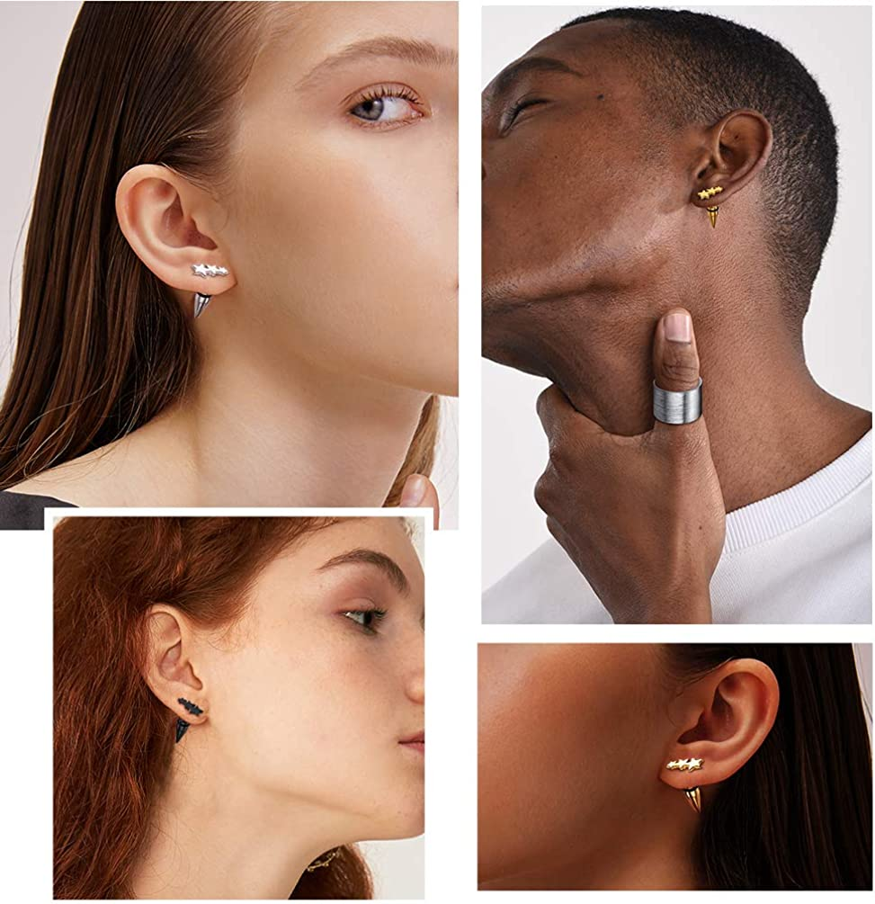 Punk Style Stainless Steel Spike Hoop Earrings Stud Earrings For Men Women, Statement Jewelry, Come Gift Box K star earrings-3 pairs of different color