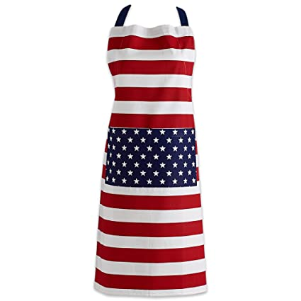 7e35a4c5c19 DII Cotton Adjustable American Flag Kitchen Apron with Pocket and Extra  Long Ties