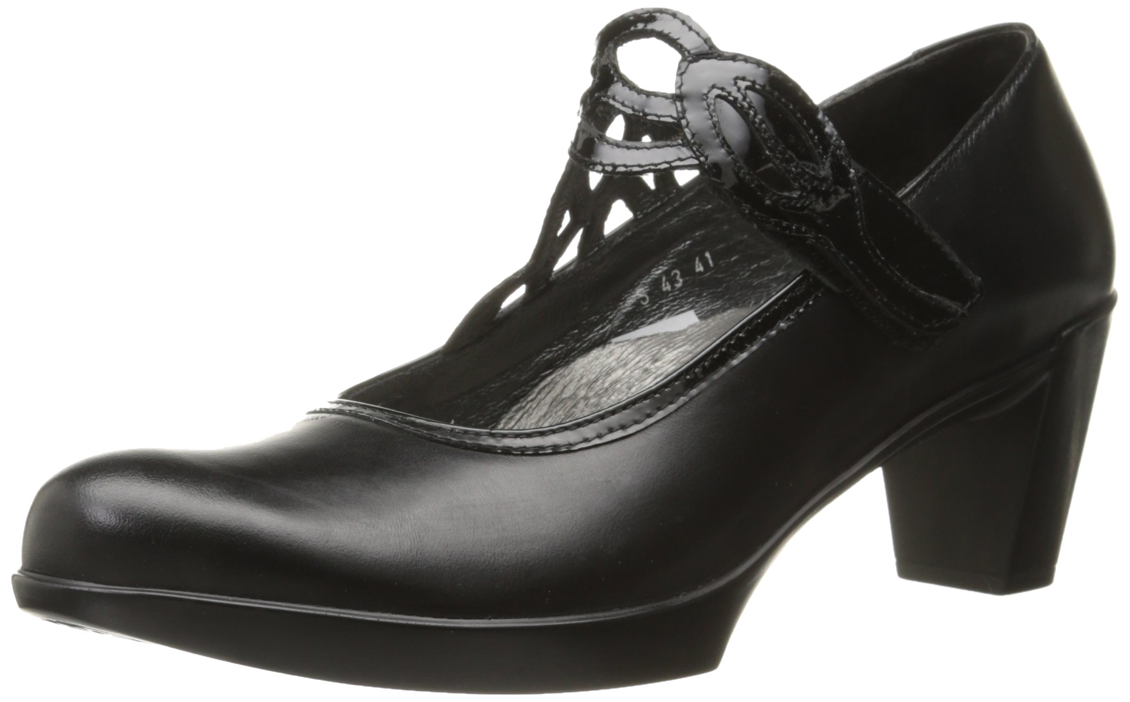 Naot Women's Luma Dress Pump, Black Madras Leather/Black Crinkle Patent Leather, 38 EU/6.5-7 M US by NAOT