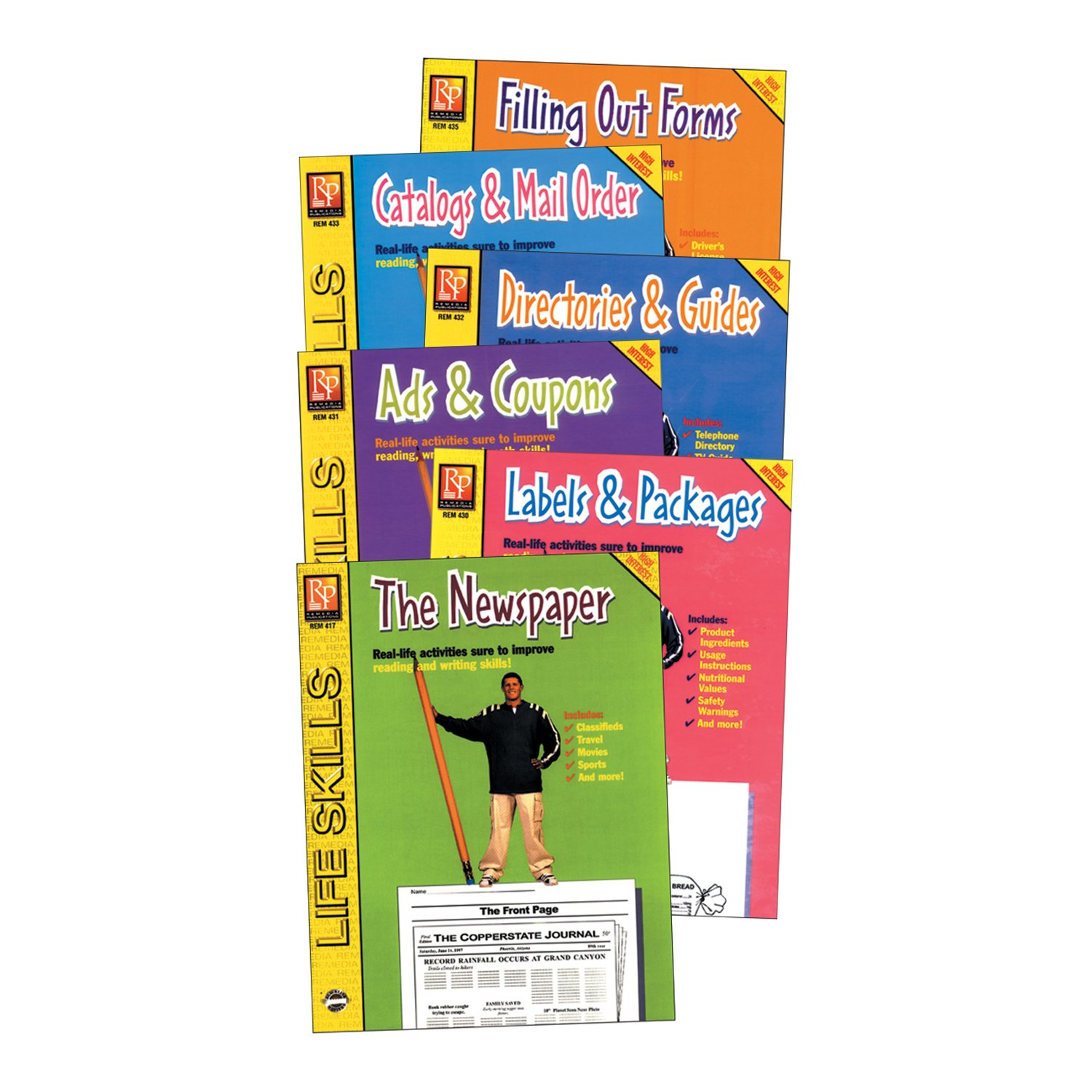 Remedia Publications REM434 Practical Practice Reading Series, Pack of 6 Grade Kindergarten to 1, 0.8'' Height, 8.6999999999999993'' Wide, 11.3'' Length