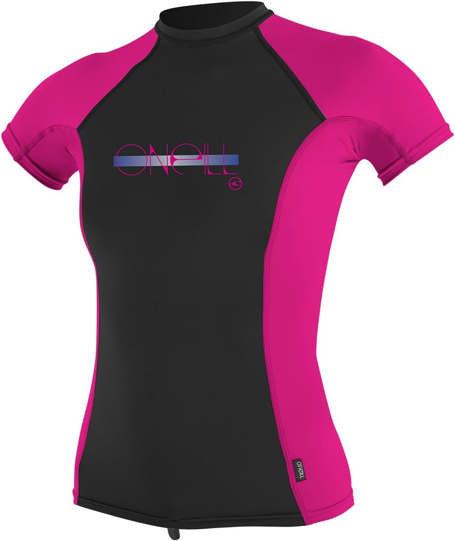 ONeill Youth Kids Junior Girls Premium Skins Short Sleeve Quick Dry Lightweight Rash Vest Top Berry