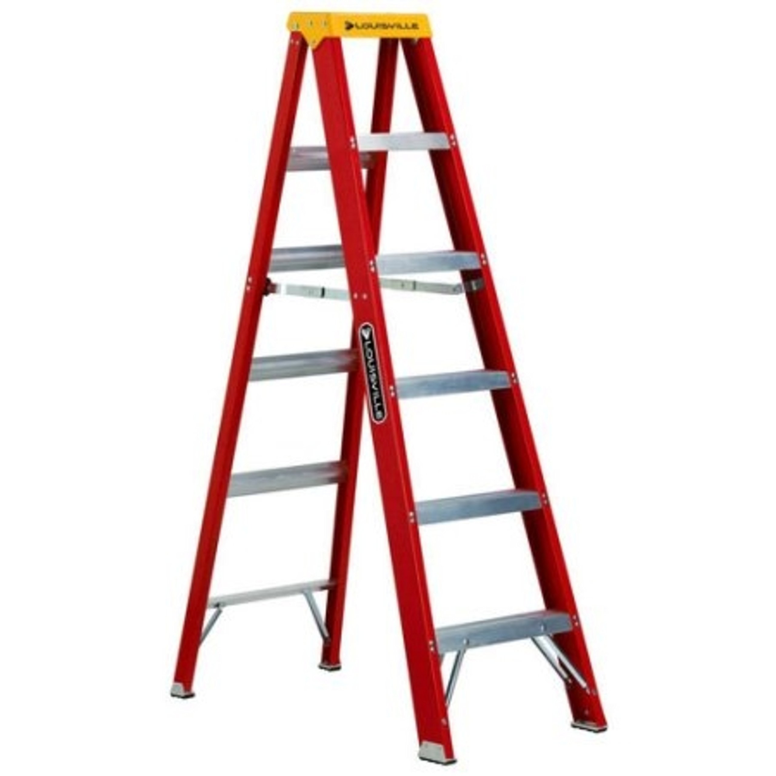 Red Non Conductive 6 ft. Fiberglass Step Ladder with Handyman's Tool Slots