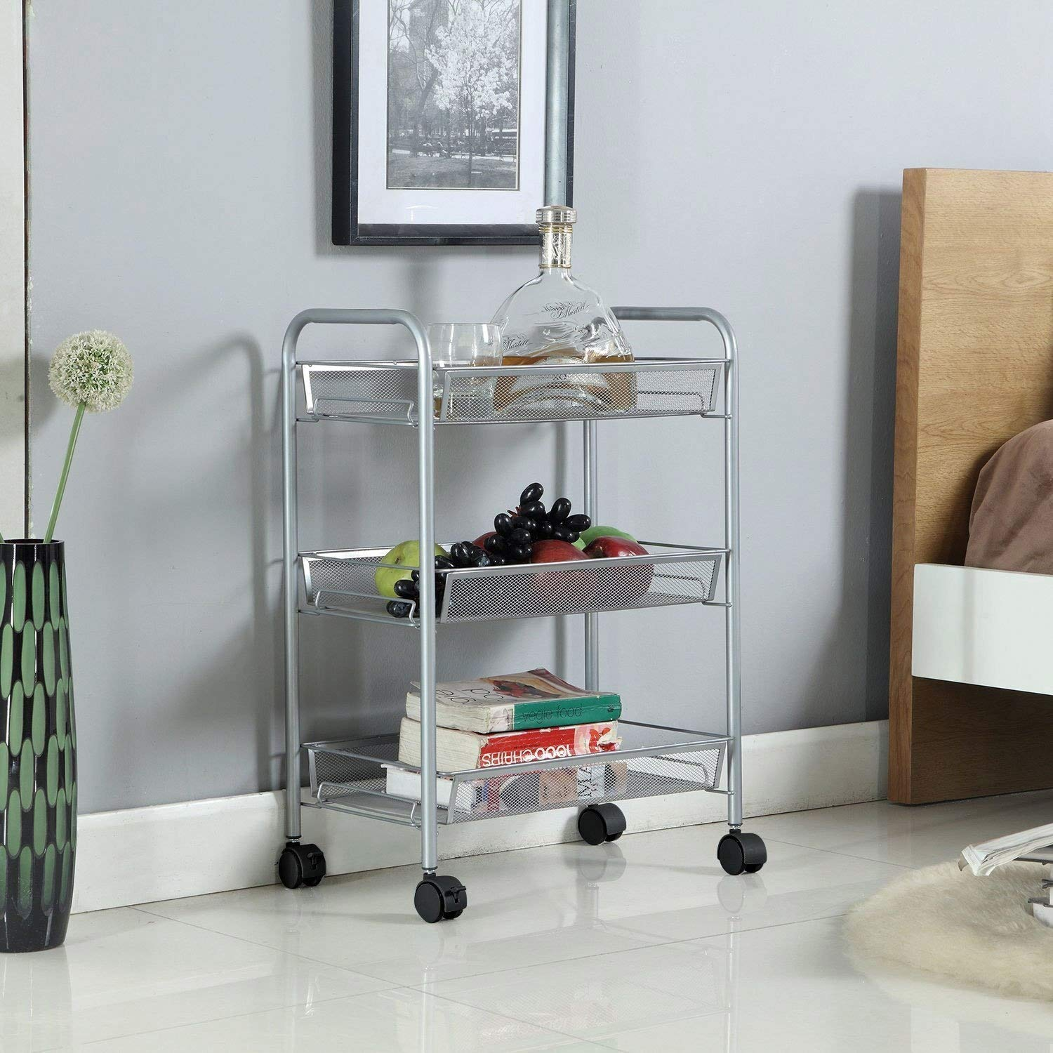 Taylor /& Brown All Purpose Shelving Metal Mesh Storage Units Sturdy Rolling Cart Bathroom Home Suitable For Kitchen Serving Trolley White, 3 Tier Office