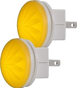 GE SleepLite LED Amber Night Light, 2 Pack, Plug-in, Always On, Melatonin, Natural Sleep, Ideal for Bedroom, Nursery, Bathroom, White, 40673