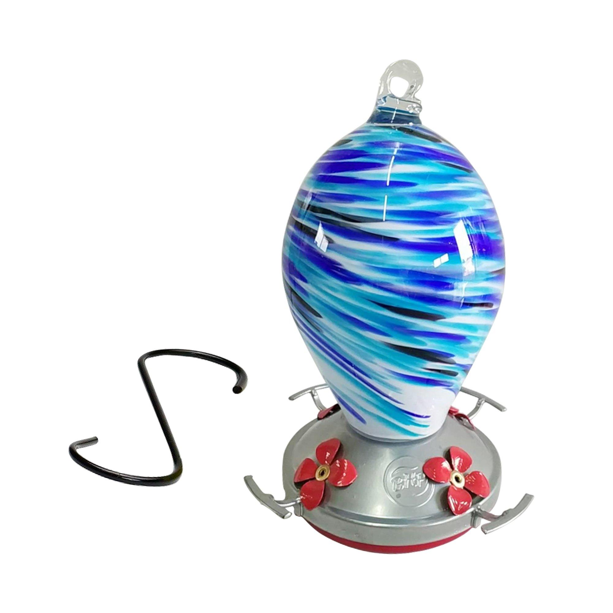 Best Home Products Hummingbird Feeder - Blown Glass - Blue Swirl - 24 Fluid Ounces