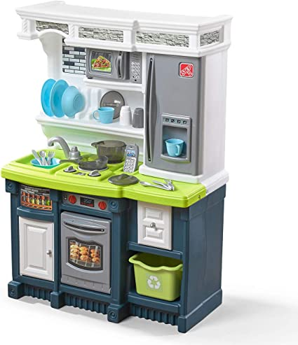 Amazon Com Step2 Lifestyle Custom Kitchen Plastic Play Toy Accessories Set Blue Green Kids Playset White Toys Games