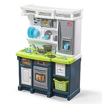 Step2 Lifestyle Custom Kitchen | Plastic Play Kitchen & Toy Accessories Set  | Blue & Green Kids Kitchen Playset