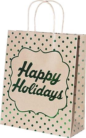 Amazon.com: Bolsas de regalo kraft de día festivo ...