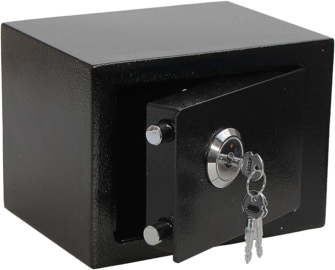 SAFETYON Caja Fuerte Portátil con Doble llave, Mini Caja de Seguridad (22 x 17 x 17 cm - Negro): Amazon.es: Hogar