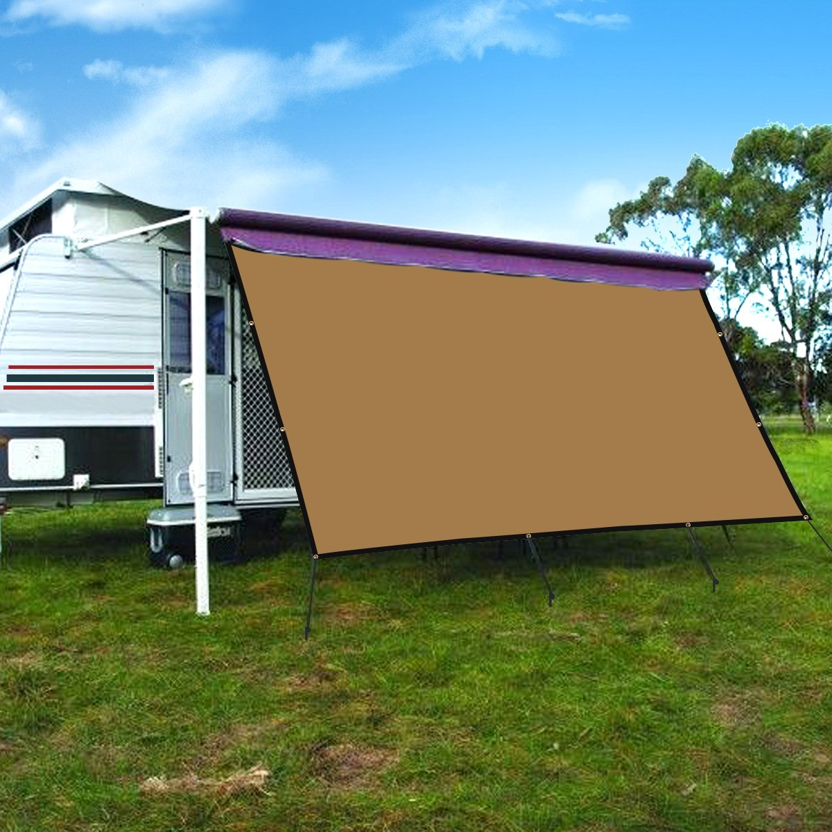 CAMWINGS RV Awning Privacy Screen Shade Panel Kit Sunblock Shade Drop 8 x 16ft, Coffee by CAMWINGS