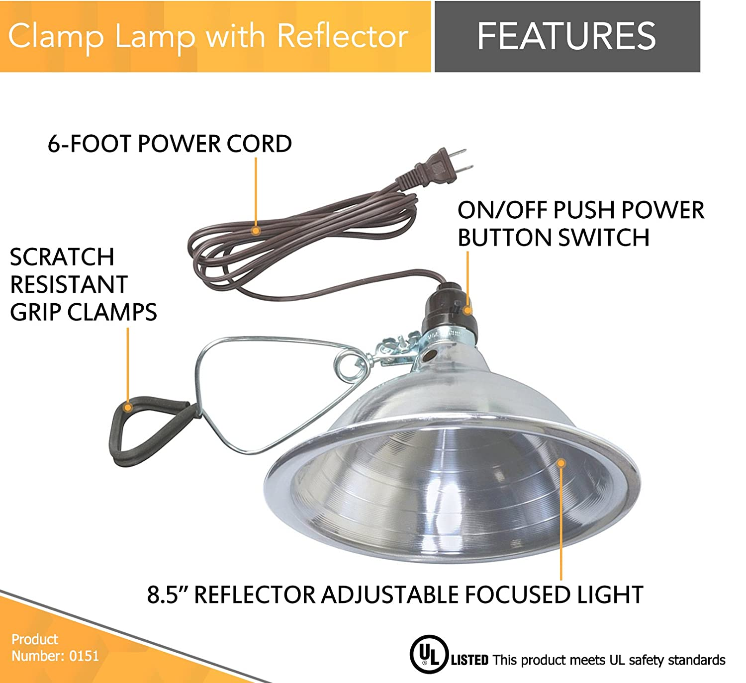 Woods clamp lamp light with aluminum reflector 150w ul listed 6 woods clamp lamp light with aluminum reflector 150w ul listed 6 foot cord portable work lights amazon arubaitofo Image collections