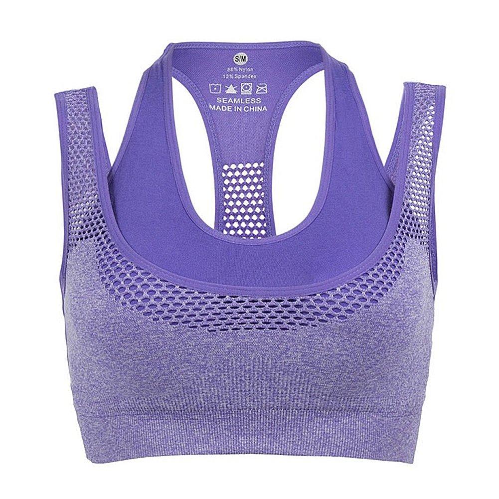 Butterme Damen Frauen Sport BH Doppelschicht Nahtlose High Impact schulterfrei in voller Unterstützung Sport Workout Yoga-BH mit herausnehmbaren Pads