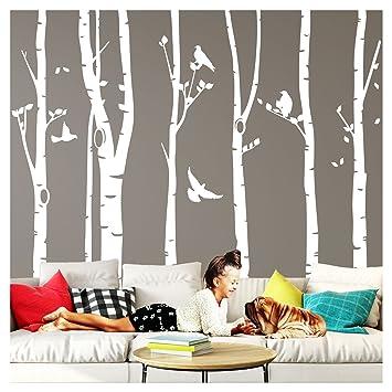 Wandaro Wandtattoo XXL Birkenstämme I schwarz (BxH) 267 x 250 cm I Birke  Vögel Bäume Blätter Tieren Flur Aufkleber Wohnzimmer Wandsticker ...