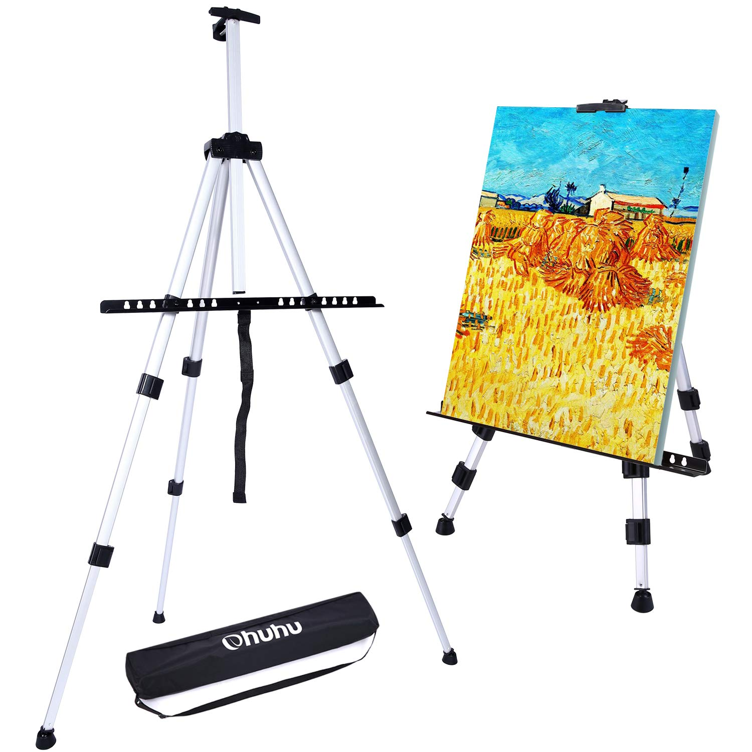 Ohuhu Artist Easel, 66'' Aluminum Field Easel Stand with Bag for Table-Top/Floor, Art Easels with Adjustable Height from 21-Inch to 66-Inch by Ohuhu