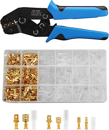 Car Electrical Terminal Crimping Tool Insulator w// 3.9mm Bullet Connector