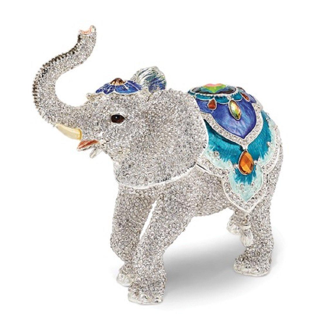Roxx Fine Jewelry Crystal Elephant Jeweled Trinket Box 8'' x 4.5'' & Necklace