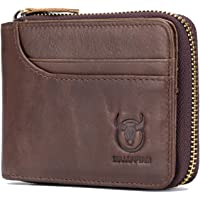 Leather Wallet, Andoer Genuine Leather Bifold Zipper Wallet for Men RFID Safe Travel Purse Pouch