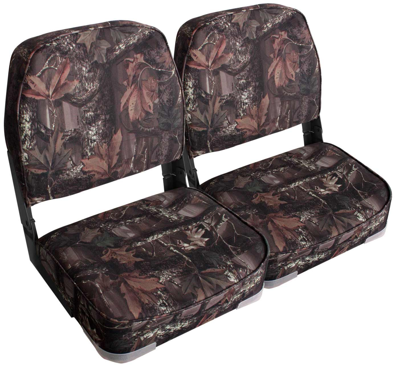 Leader Accessories A Pair of New Low Back Folding Boat Seats(2 Seats) (Camo/Black Hinge) by Leader Accessories