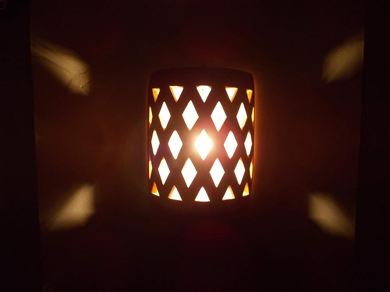 Etnico arredo applique da parete lampada lanterna in terracotta