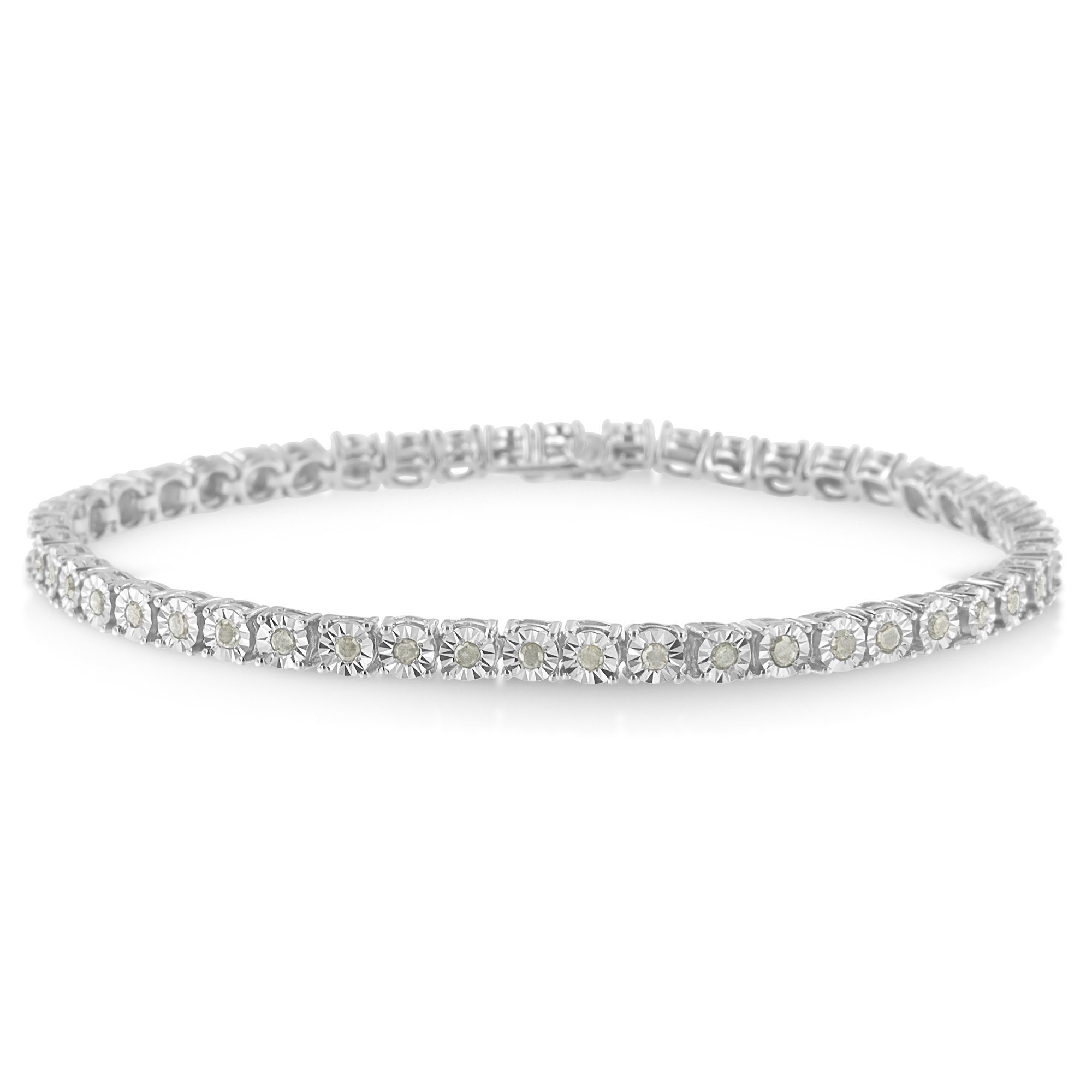 Sterling Silver Rose Cut Diamond Miracle Tennis Bracelet - Size 8 (1 cttw, I-J Color, I3 Clarity)