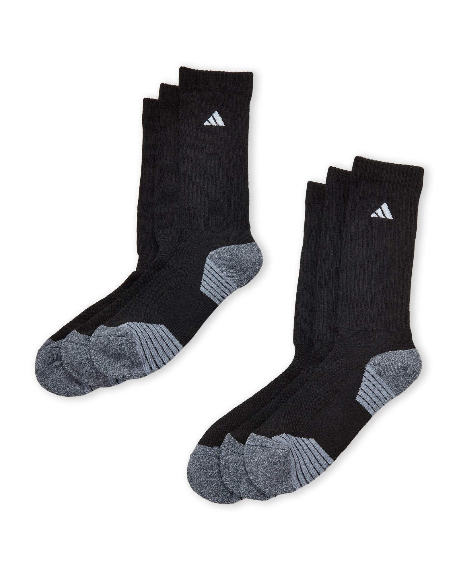 adidas Men's Athletic 6-Pack Crew Socks (Shoe Size 6-12, Black Onyx)