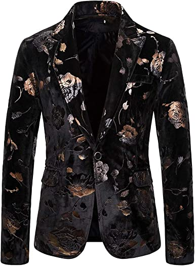 Litetao Mens Slim Fit Rose Gold Blazer Jacket Slim Fit Floral Shiny Sequins One Button Notch Lapel Tuxedo Suit