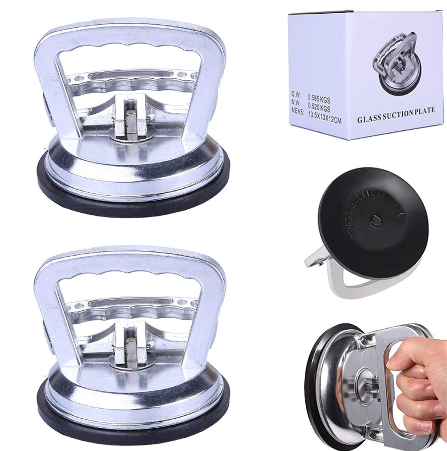 2 Pcs Dent Puller, Silver Suction Cup Handle Dent Puller – Heavy Duty Aluminum High Performance Suction Cup Lifter For Glass, Tiles, Mirror, Car Dent Repair Device, Body Repair, Glass Mirror Tiles