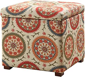 HomePop Square Upholstered Storage Ottoman with Removable Top, Suzani
