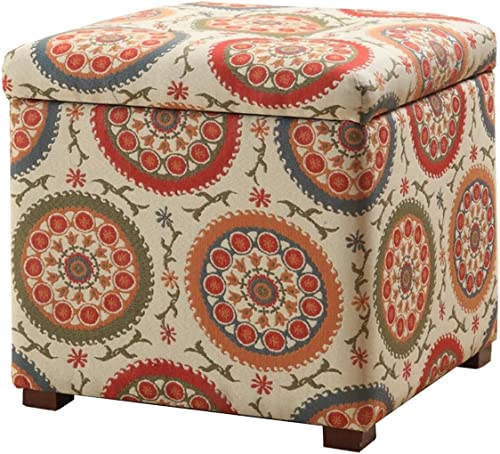 HomePop Square Upholstered Storage Ottoman